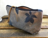 Creeping Vine Pouch - reverse tie dye on vintage French metis linen