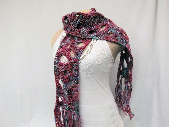 Long scarf warm hand knitted skinny scarf wool scarf by Iryna