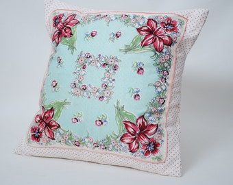 Vintage Handkerchief Pillow Cover Free Shipping!