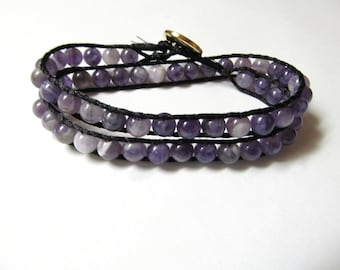 Chan Luu Style Double Wrap Bracelet in Dog Tooth Amethyst