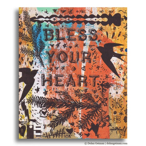 Housewarming Gift, Bless Your Heart, Panel Painting, Original Mixed Media on Wood by Dolan Geiman