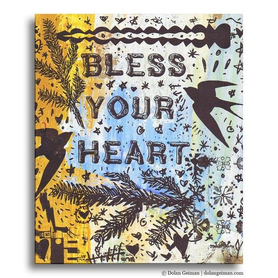 Bless your Heart Folk Painting, Original Screenprint on Wood by Dolan Geiman
