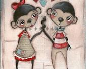 Print of my original Folk Art Valentine Painting - Monkey Love