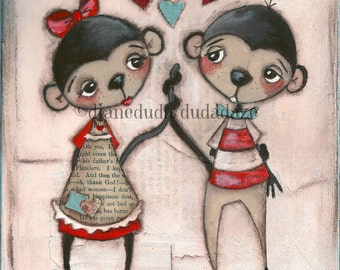 Print of my original Folk Art Valentine Painting - Monkey Love