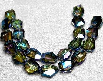 Green Rainbows- faceted crystal nuggets