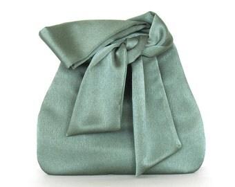 Sateen wristlet bag , evening bag , handmade green bridesmaid wristlet purse , vegan bag ,  fabric bag ,  small purse , prom bag , party bag