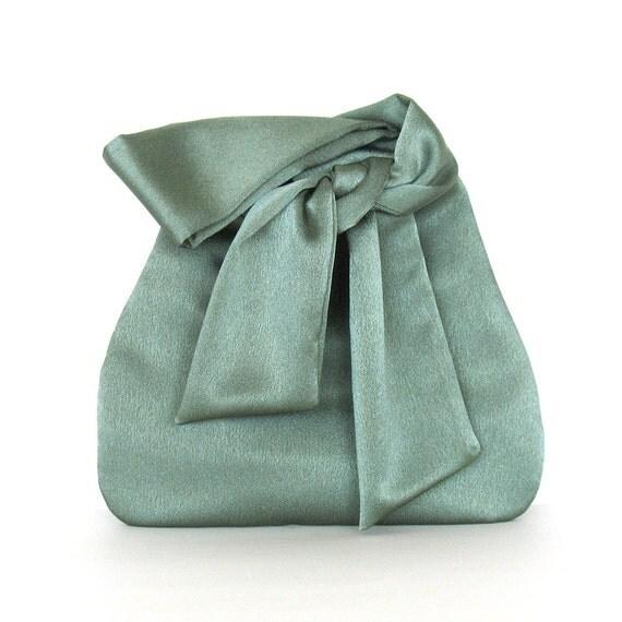 Evening bag , handmade green bridesmaid wristlet purse , vegan bag , satin wristlet bag , fabric bag ,  small purse , prom bag , party bag