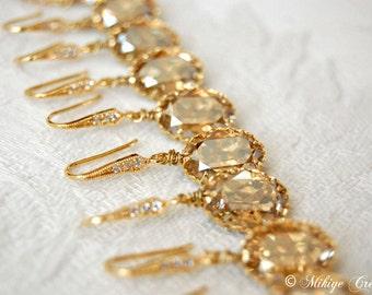Bridesmaid Gift Earrings, Wedding Earrings, Golden Shadow Chandelier Swarovski Crystal Drop Earrings, Wedding Jewelry Set of 4