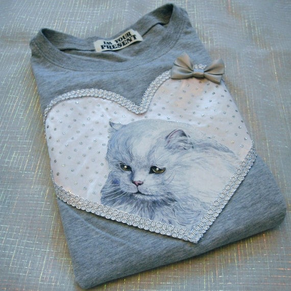 Grey and Peach Cat Applique Tee