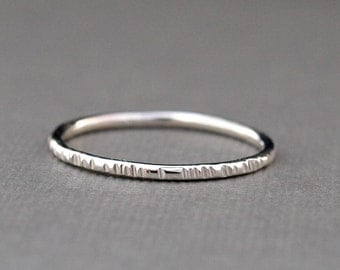 Simple Sterling Silver Ring Band with Line Texture