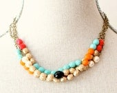 Triple Strand Colorblock Beaded Necklace