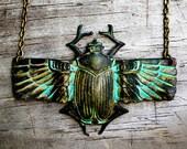 Scarab Statement Necklace Verdigris Patina, Friendship Love Egyptian Amenhotep Ra Holy Beetle, Best Friend Pals Valentine Sweetheart Buddies