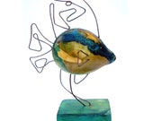 Tropical Fish Wire Sculpture gourd Art Green Blue and Yellow fun  miniature decoration