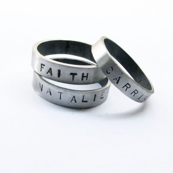 Custom Hand Stamped Ring - Sterling Silver - Any Size - Your Name or Personalized Message