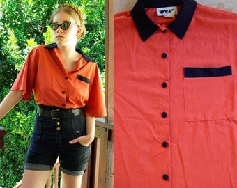 Orange CRUSH 1980's 90's Vintage Orange and Black Button Down Blouse by WEAR size Medium