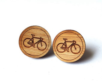 Bicycle Earrings. Bike Earrings. Wood Earrings. Stud Earrings. Laser Cut Earrings. Bamboo Earrings. Gifts For Her. Gift For Women. Cycling.