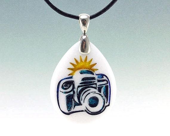 Shutterbug Camera Pendant - Engraved Stone Pendant - White Marble