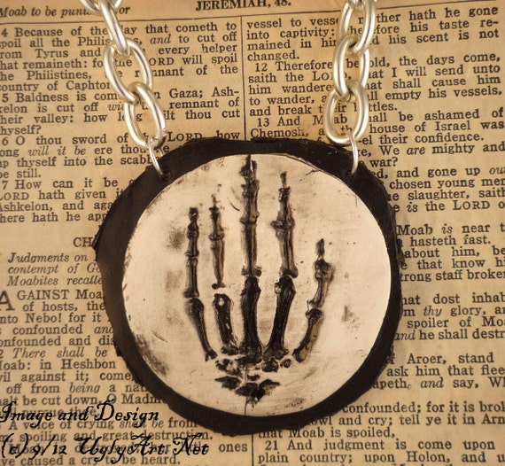 Custom listing for Aonie    Hand of Glory Skeleton Hand Necklace by Ugly Shyla