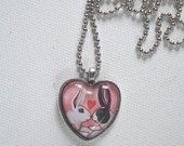 Love Bunnies - Heart Shaped Pendant - Rabbit Necklace