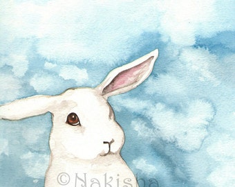Archival Fine Art Print - Little White Rabbit Against a Blue Sky