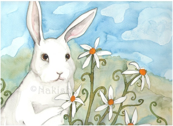 Original Art - White Rabbit and Daisies- Watercolor Rabbit Painting