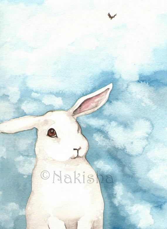 Archival Fine Art Print - Little White Rabbit Against a Blue Sky