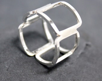 SQUARE MIX Ring, Band, Wide, Bubbles, Sterling, Silver, Sauare, staggered, thick