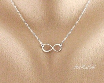 Infinity Necklace, Silver, Gold or Rose Gold Infinity Jewelry, Eternity Sister Jewelry, Bridesmaid Gifts, Everyday Jewelry, Gift for Her