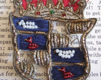 VINTAGE fabric MEDALLION crown made in INDIA red white and blue