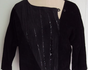 Sale Vintage 80s Black Suede leather Avant Garde Shirt