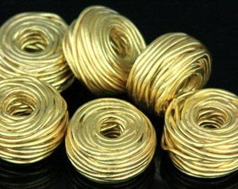 KG-213 thai karen hill tribe silver 2 gold vermeil wire wrap bead