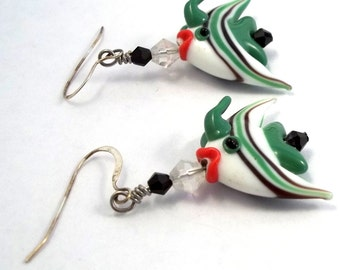 Green and White Angelfish Earrings Lampwork Earrings Lampwork Jewelry Fish Earrings Beaded Earrings Clip On Earring Clip On Earing BE1477