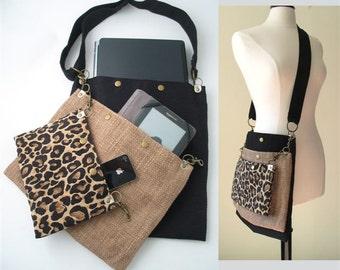 women messenger bag, crossbody tote bag ,laptop bag, Leopard purse, cross body bag, travel bag, book bag