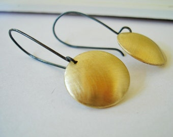 I need it Gold Brass Disc Drop Earrings FREE SHIPPING with Recycled Silver Oxidixed Earwires simple everyday accessory