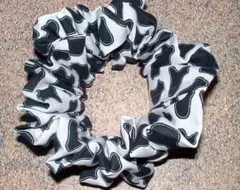 Cow Spots Hair Scrunchie, Black/White Ponytail Holder,  Fabric Hair Tie, Farm Animal, Holstein Cow