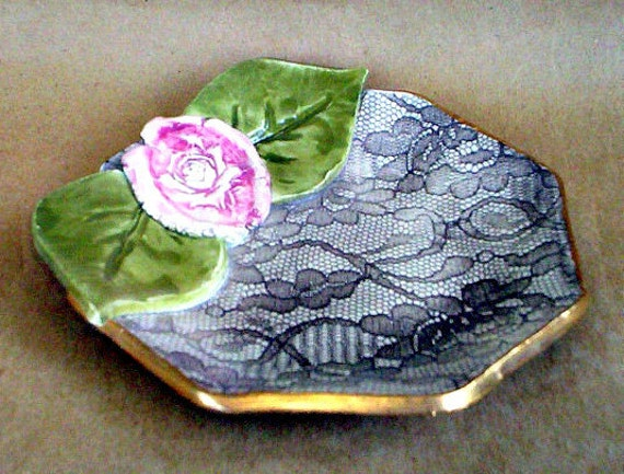 Lace Bowl with Rose and Leaves