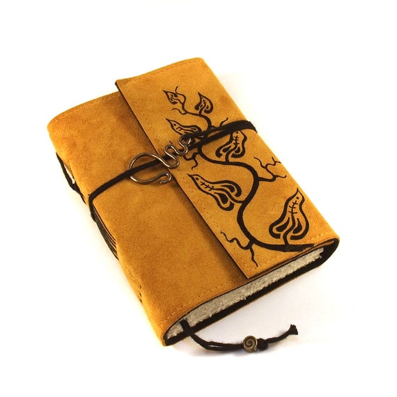 Leather Journal, Blank, Bound, Golden Leaves
