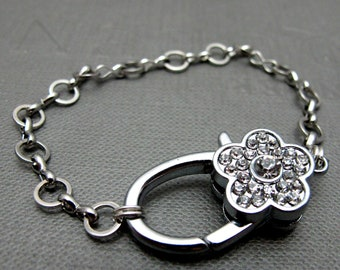 """Bling Clasp Flower Bracelet // Rhinestone Paved Silver Flower Clasp // 7"""" Chunky Silver Chain // Gift under 25"""