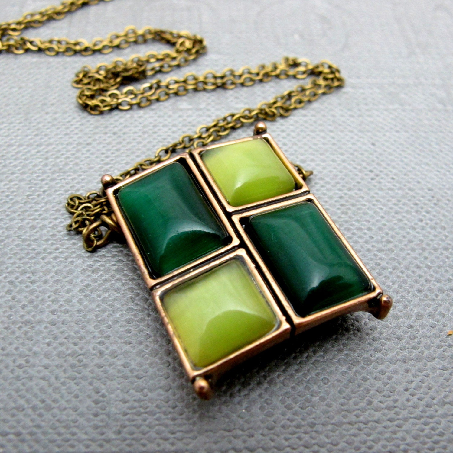 Emerald Green And Lemon Yellow Squares Art Deco Necklace