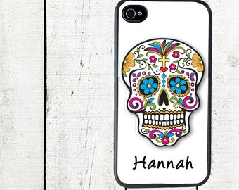 iphone 6 case Personalized Sugar Skull Cell Phone Case - Day of the Dead iPhone Case - iPhone 4, 4s - iPhone 5 Case