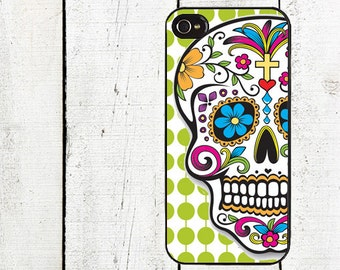 iphone 6 case Day of the Dead iPhone Case - Sugar Skull iPhone Case - iPhone 4, 4s - iPhone 5 Case - Lime Green Dots - Galaxy s3 s4 s5
