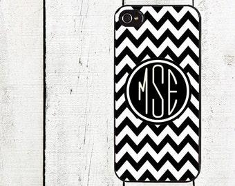 Monogram Black and White Chevron Cell Phone Case - Personalized Cell Phone Case - Chevron iPhone 5 - iPhone 4,4s - Galaxy s3 s4 s5