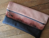 bleach dyed clutch / pouch / zip pouch /  leather bottom clutch bag