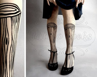Wooden Legs TATTOO gorgeous thigh-high stockings Ultra Pale