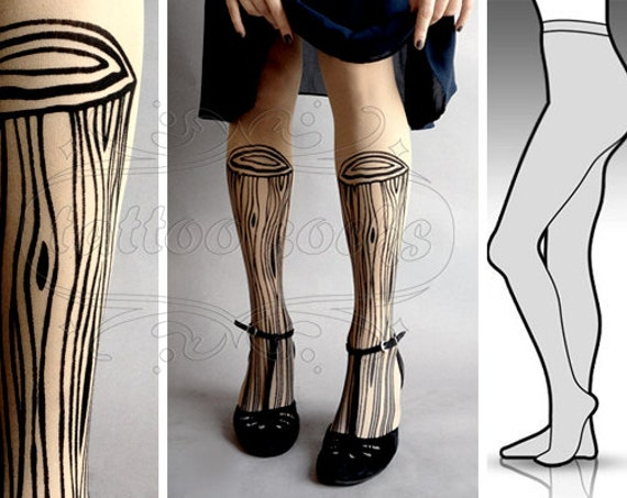 Large/Extra Large sexy Wooden Legs tattoo tights / stockings/ full length / pantyhose / nylons LIGHT MOCHA