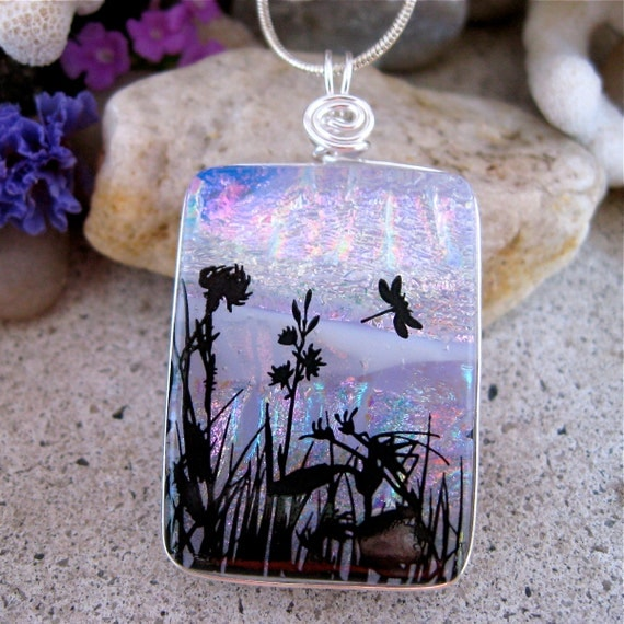 DICHROIC PENDANT Silver Wrapped Multi Layered Fused Glass Meadow