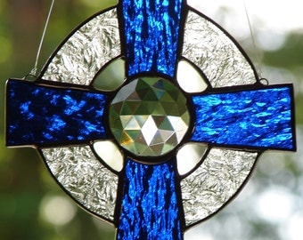 Stained Glass Blue Celtic Cross