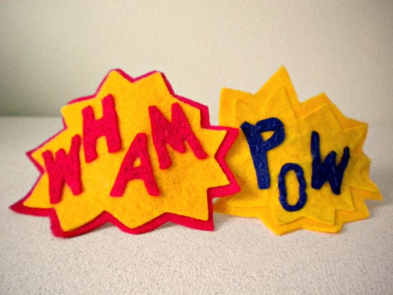 WHAM - Interchangeable Felt Comic Blast Headband in Fire Engine Red and School Bus Orange - Ready to ship