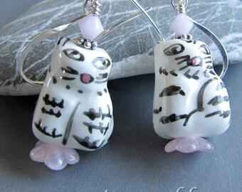 Porcelain Tuxedo Kitty  Cat Earrings by Cornerstoregoddess
