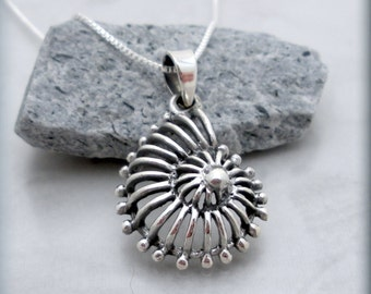 Nautilus Shell Necklace, Ocean Necklace, Beach Jewelry, Seashell Pendant, Sterling Silver, Summer, Sea Shell Pendant, Spiral Necklace SN692